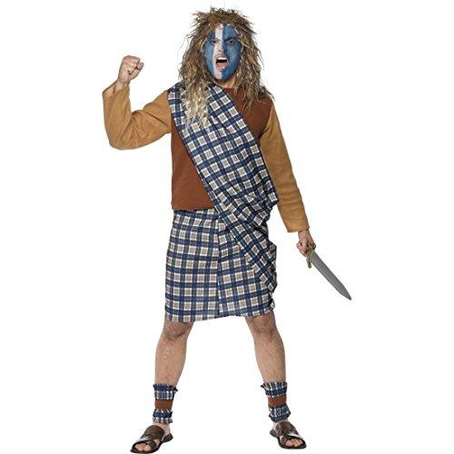 Schottenkostüm Highlander Schottenrock Blau L 52/54 Kostüm Schotte Krieger Kostüm Braveheart Karnevalskostüm Kämpfer Schotten Herrenkostüm Outfit