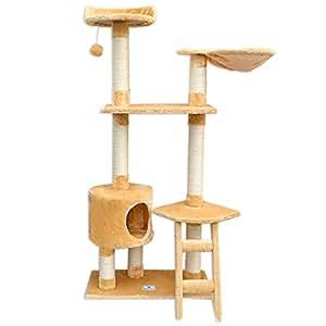 arbre chat en peluche sisal beige 140 cm. Black Bedroom Furniture Sets. Home Design Ideas