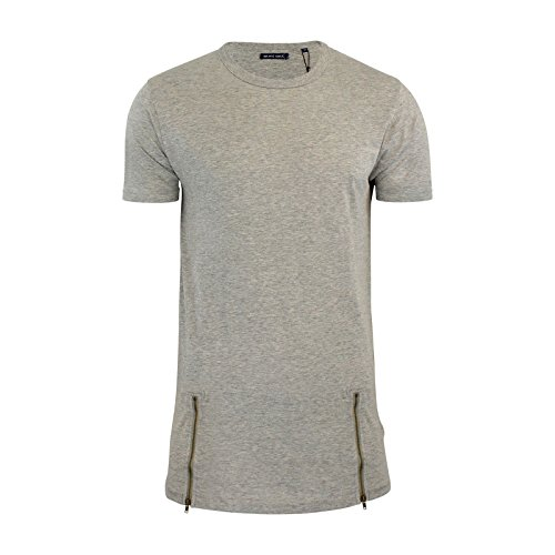 Herren T-shirt Brave Soul Falke Langleine Reißverschluss Details Rundhals Kurzärmeliges Top Mergel Grau