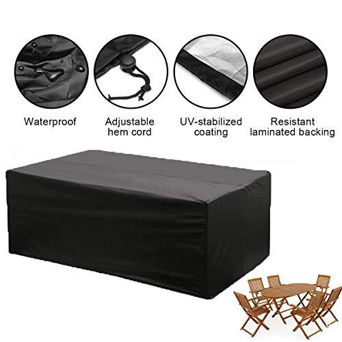 KING DO WAY Schutzhülle Wasserdicht Möbelbezug DraussenGarten Sofabezug für Tisch und Stuhl Terrasse Staubdicht Film Rechteckig Polyester Schwarz (213 cm x 132 cm x 74 cm)