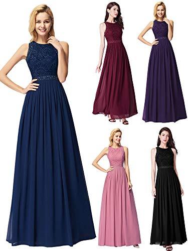 Ever-Pretty Vestito da Sera Donna Lungo Abito da Ballo Cerimonia Matrimonio Blu Navy 42