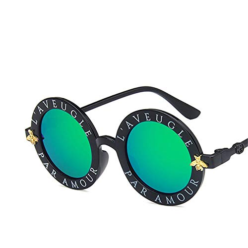 WUNDEPYTYJ Sonnenbrille Unisex Polarisierte Retro Driving Metal Frame Ultraleichte Sportbrille,Helles schwarzes und grünes Quecksilber