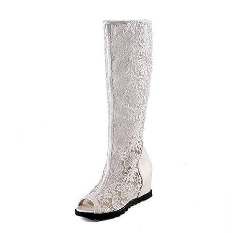 Adee filles Haut Talons accentuer les à l'intérieur brevet en cuir Sandales - Blanc - blanc, 42