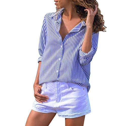 Overdose Blusa para Mujer OtoñO Primavera Mejor Venta De Moda Casual De Manga Larga Color Block Stripe Button Camisetas Tops (L, Azul-E)
