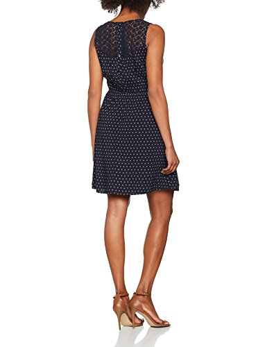 Tom Tailor Denim Printed Dress with Lace, Robe Femme Bleu (Real Navy Blue 6593)