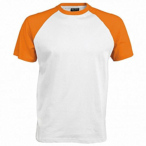 Kariban Herren Baseball T-Shirt (2XLarge) (Weiß/Orange) (Weiße Baseball-t-shirt)