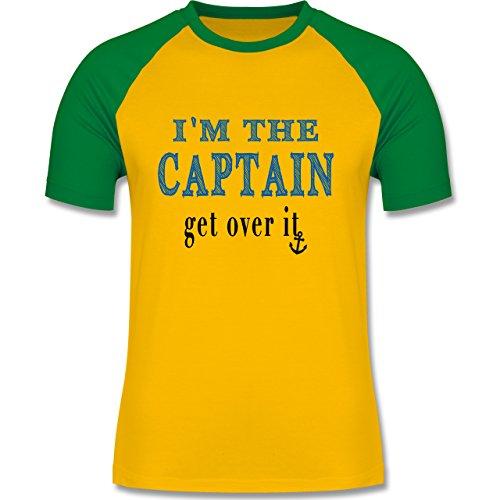 Schiffe - I'M THE CAPTAIN - get over it - zweifarbiges Baseballshirt für Männer Gelb/Grün
