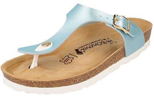 BOnova® Ibiza Zehentrenner in 14 Farben für Damen, Sandalen - Pantoletten mit Korkfußbett - Handmade IN Spain