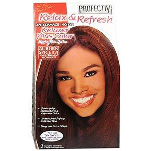 Relaxer / Glättungscreme mit Farbe Profectiv Anti-Damage No-Lye Relaxer Plus Color KIT - Auburn Spice #31