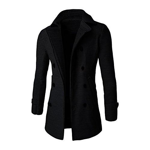 SUNNOW Homme Slim Fit Unique Poitrine Laine Manteaux Noir