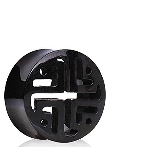 12 mm (1/2 Zoll), Gittermuster Arbeitsmuster Horn Buffalo Schwarz Piercing Plug Ohr Messgerät Flesh Tunnel Ohrring. (Billig-ohr-messgeräte)