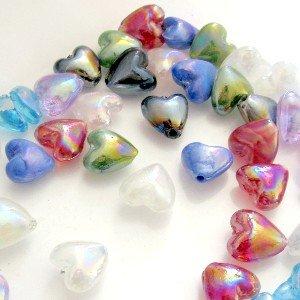 50pièces 12mm Perles en cœur en verre soufflé–Mixte–a3902