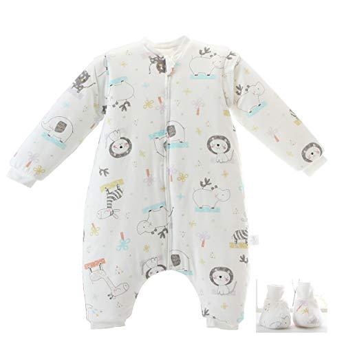 Baby schlafsack mit Beinen Warm Lined Winter Langarm Winter schlafsack mit Fuß und Baby schuhe 3,5 Tog (M/Körpergröße 80cm-95cm, weißeKatze)
