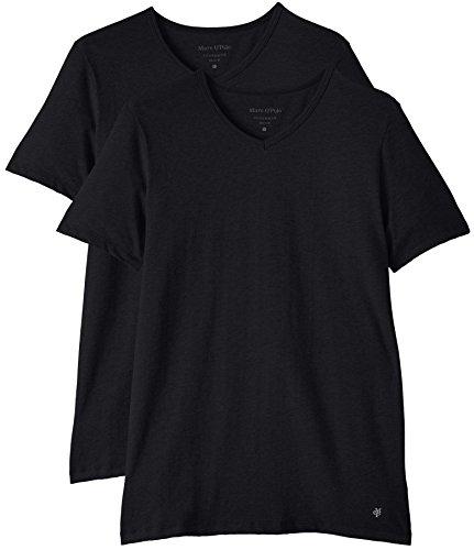 Marc O'Polo Body & Beach Herren Unterhemd SHIRT V-NECK (DOPA), 2er Pack, Gr. Large, Schwarz (blauschwarz 001)