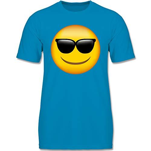 (Anlässe Kinder - Emoji Sonnenbrille - 134-146 (9-11 Jahre) - Azurblau - F140K - Jungen T-Shirt)