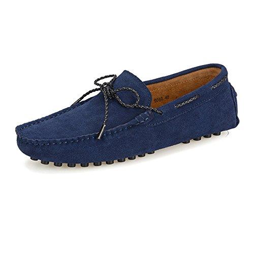 TiandaoMXL Herren Driving Penny Loafers Wildleder echtes Leder Boot Mokassins Gummi Nieten Sohle Kleid Schuhe Schuhe (Color : Marine, Größe : 9.5 MUS) -