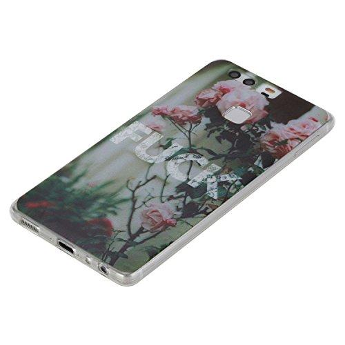 Coque Bumper pour Huawei P9,Huawei P9 Soft Silicone Tpu Coque Mode,Huawei P9 Flexible Souple Case,Ekakashop Mignonne Design Transparente Crystal Clair Souple Gel Housse Coque Protecteur Back Cover Def Fuck