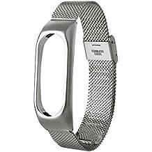 Nueva pulsera ligera de acero inoxidable de moda Correa de reloj inteligente Xinan Para Xiaomi MI Band 2 (Plateado)