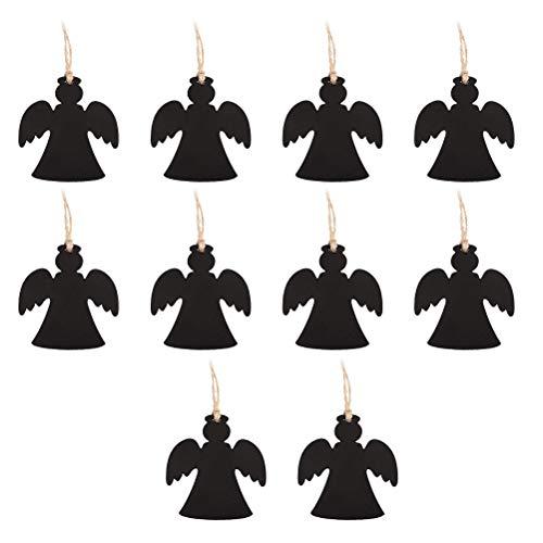 Healifty mini lavagna lavagnette appeso di legno forma angelo tabella numero lavagnette lavagna segnaposto natalizi matrimonio 10 pezzi