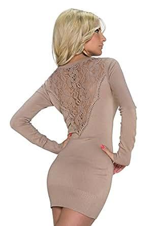 4578 Fashion4Young Damen Strick Minikleid LongPullover Pullover Pulli Kleid in 5 Farben 2 Größen (S/M 36/38, Hellbraun)