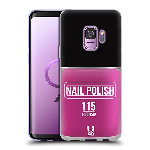 Head Case Designs Fuchsia Nagellack Soft Gel Huelle kompatibel mit Samsung Galaxy S9