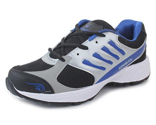 Touchwood Men's Viber Black/Grey Sports Running Shoe-7 IND/UK