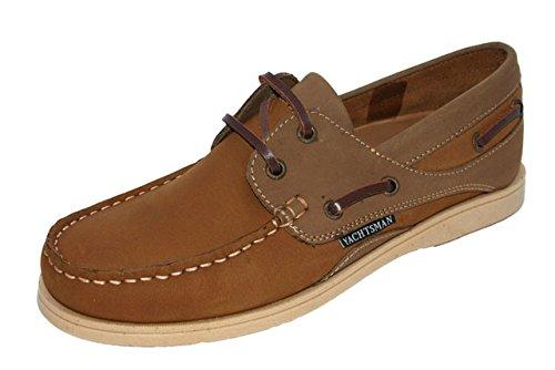 Ladies Seafarer Yachtsman Nubuck Leather Boat Deck Shoes Sizes 4 - 8 ((UK 7), Tan)