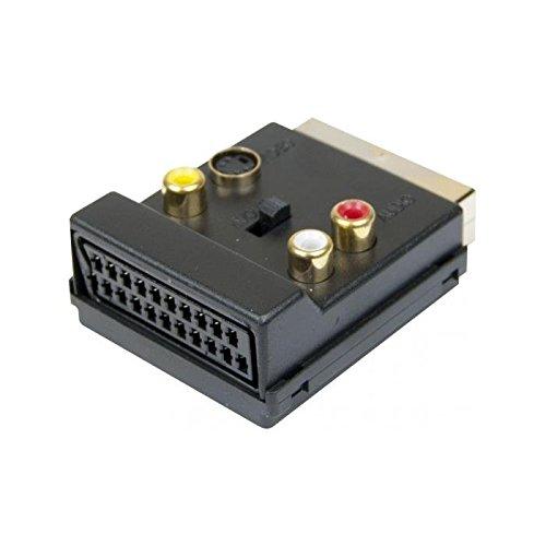 Dexlan 107210 Adaptateur Péritel M/F 3 x RCA + S-Vidéo Interrupteur signal In/Out