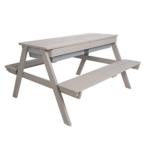 roba Kinder Outdoor Sitzgruppe 'Play for 4', Sitzgarnitur & Matschtisch mit 2 Bänken und 1 Tisch aus Holz für drinnen und draußen mit abnehmbarer Tischplatte und 2 Kunststoff-Wannen, wetterfest, grau lasiert