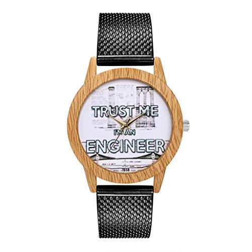 COOKDATE Herren Damen Analog Uhr Dünn Elegant Luxusuhr Geschäft Braun Armband Schwarz