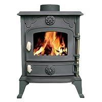 FoxHunter Cast Iron Log Wood Burner Stove JA013 6KW Multifuel Fire Place