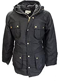 Relco Mens Black Waxed Military Style Coats