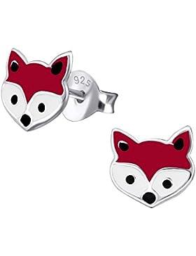 Zierelefanten, klein, Sterling-Silber, Fuchs-Ohrringe & Weiß