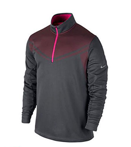 2014 Nike Hypervis 1/2 Zip Cover up Mens Golf Pullover Dark Grey/Hyper Pink Large (Up Golf Cover Nike)