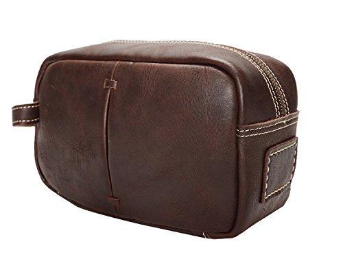DXL-Men's Bags Männer Kosmetiktasche Öl glänzend Leder Retro First Layer Leder Handtasche Neutral Herrentaschen (Color : Brown, Size : S) -