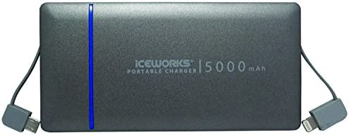 Iceworks® 5000mAh Dual In-Built Cable Portable Charger - [MFi Apple Certified] Ultra-Thin External Battery Power Bank w/ Built-In Lightning (iPhone) and Micro-USB (Android) Cables and Charge Level Indicator for iPhone 6 Plus 5S 5C 5, iPad Air Mini, Samsung Galaxy S6 S5 S4 Note, Google Nexus, HTC, Motorola, PS Vita and many more Smartphones and Tablets