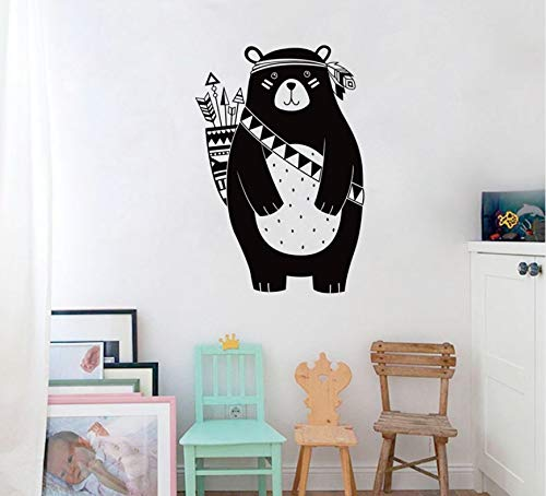 Fqz93in Kinderzimmer Wand Aufkleber Cartoon Indian Tribal Brave Bear Tragen Pfeil Vinyl Wandtattoo Wald Tier Kindergarten Wandaufkleber Für Kinderzimmer Home Decor 56X38 cm