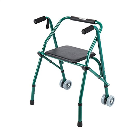 ZXWDIAN Telai per camminata ad altezza regolabile Passeggiatore pieghevole per anziani - con piastra di seduta per le anziane stampelle a quattro piedi - riabilitazione camminatore L\'aiuto alla mobili
