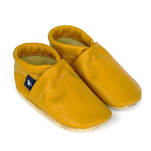 pantau.eu Kinder Lederpuschen Krabbelschuhe Babyschuhe Lauflernschuhe Unifarben Gelb