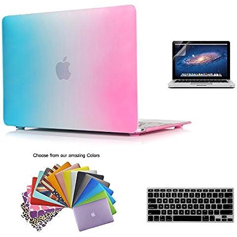 TECOOL® 3 in 1 Ultra Slim Multi Color Plastica Hard Case Cover Notebook Laptop Case, Arcobaleno US versione tastiera cover, Versione Europea di il Trasparente Tastiera Cover e Schermo Protezione per MacBook 12