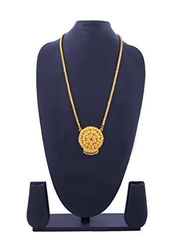 Bfc One Gram Gold Plated Pink Diamond Flower Designer Long Chain Necklace For Women