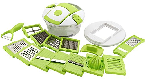 VM Product 15 in 1 Vegetable and Fruit Cutter Chopper, Dicer, Grater, Slicer with Airtight Unbreakable Container (Green)