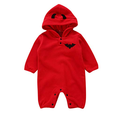 Comie Kinder Winter Onesies, Neugeborenes Baby Halloween Fledermaus Strampler Overall mit Kapuze Outfits, Süß Langärmliges - Süße Fledermaus Säugling & Kleinkind Kostüm