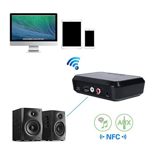 Kongnijiwa Tragbare NFC Desktop-Bluetooth-Adapter-Audioempfänger Bluetooth Music Receiver Lautsprecher Plug & Play