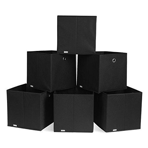 HOMFA 6er Faltbare Aufbewahrungsboxen Faltbox Stoffbox mit Fingerloch Einschubkorb Regalbox faltbar perfekt für Regal und Schrank 30*30*30cm Schwarz Boxen Schrank