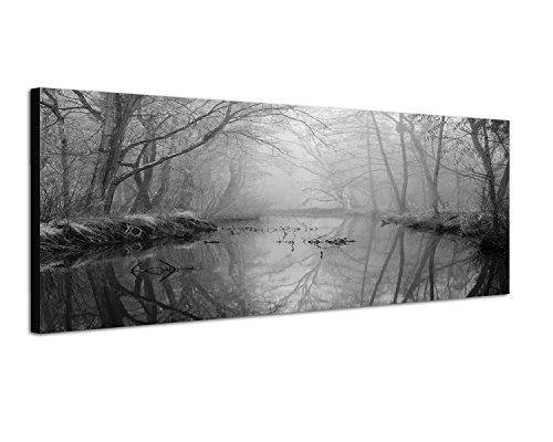 Keilrahmenbild Panoramabild SCHWARZ / WEISS 150x50cm Wald Bäume Fluss Nebel Dunst