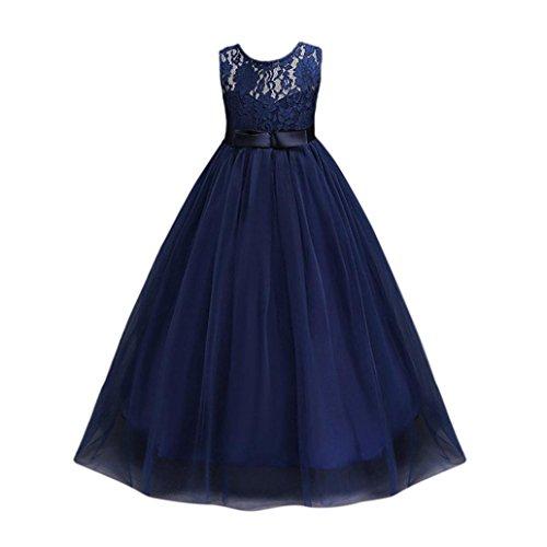 r mädchen kleid prinzessin Röcke urlaub Kleid hochzeit brautjungfer Abendmode kleid Mädchen Spitze Mesh Partykleid Spleißen lange Slim Rock elegante Kleid (140, Navy) (Navy Kinder Brautjungfer Kleider)