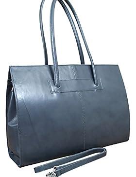Made in Italy Luxus Damen Schulter-Henkeltasche IT Bag Echt Leder Grau
