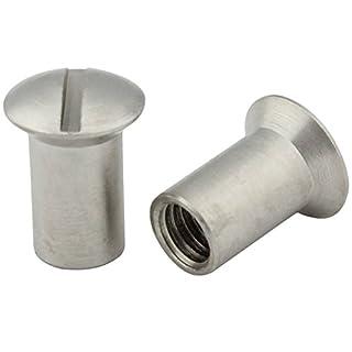 Hülsenmuttern mit Linsensenkkopf und Schlitz-Antrieb - M5x14 - (50 Stück) - aus rostfreiem Edelstahl A1 (VA) - NIRO - SC9061 - Linsenkopf | SC-Normteile®