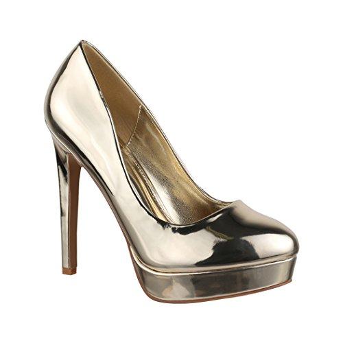 Elara Damen Plateau Pumps | High Heels Lackoptik | Vintage Schuhe | Chunkyrayan C-2 Gold-37